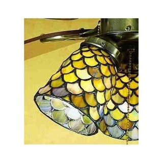 Meyda Tiffany 27470 Stained Glass / Tiffany Fan Light Kit Glassware from the Tiffany Fishscale Collection