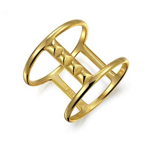 Full Finger Boho Bar Pyramid Ring Gold Plated 925 Sterling Silver