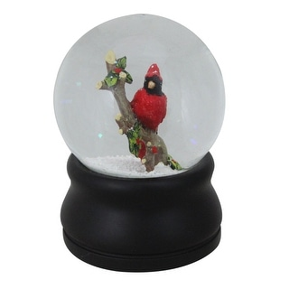 """5.75"""" Red Cardinal on Branch with Holly and Berries Musical Christmas Snow Globe"""