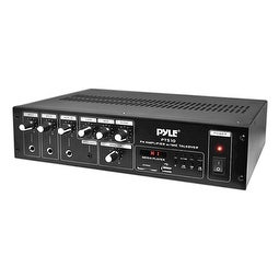 240 Watt Public Address Power Amplifier with 70V Output & Mic Talkover, USB/SD Card MP3 Player, Built-in FM Radio & LED Display