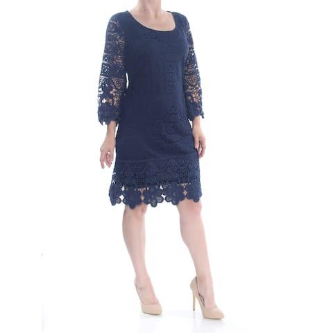 ALFANI Womens Blue Floral Above The Knee Sheath Formal Dress Size M