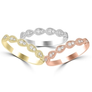 14K White Gold, Rose Gold, Or Yellow Gold Stackable Rings 0.15ctw Diamonds