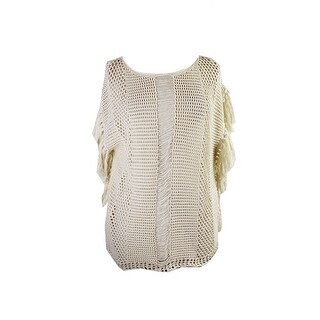 Lucky Brand Ivory Short-Sleeve Nomad Fringed Pullover L