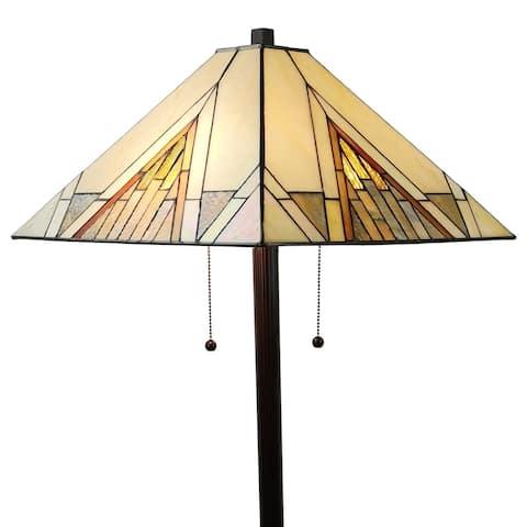"Tiffany Style Mission Standing Floor Lamp 62"" Tall AM351FL17 Amora Lighting - Multi-Colored"