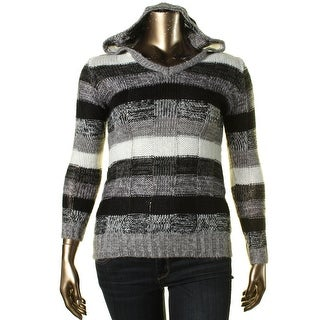 Ultra Flirt Womens Juniors Striped V-Neck Hooded Sweater