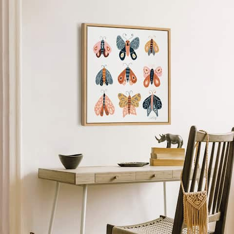 Kate and Laurel Sylvie Yellow Moth Specimens Framed Canvas by Cat Coquillette