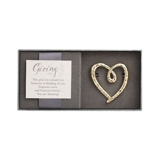 Women's Giving Pin - Golden Heart-Shaped Metal Brooch