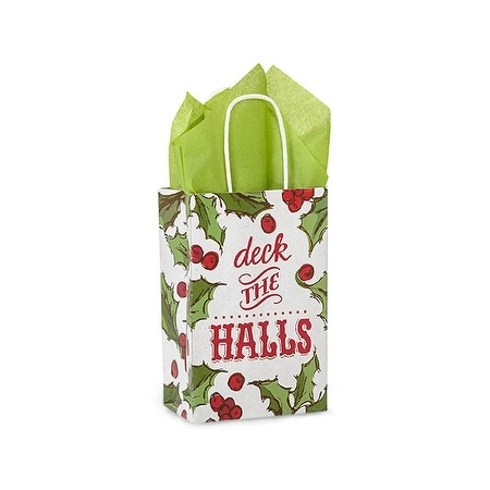 """Pack of 25, Rose Holly Berry Tidings Paper Bags 5.5 x 3.25 x 8.5"""" For Christmas Packaging, 100% Recyclable,"""