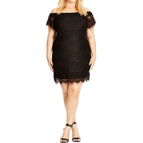 City Chic Womens Plus Cocktail Dress Lace Off-The-Shoulder