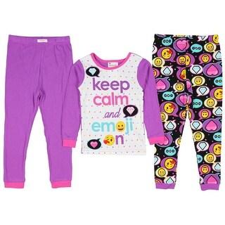 Emoji Girls' Keep Calm And Emoji! 3 Piece Pajama Set