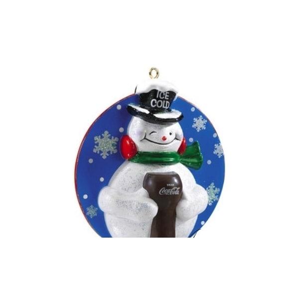 Carlton Cards Heirloom Coca-Cola Ice Cold Glitter Snowman Christmas Ornament - WHITE