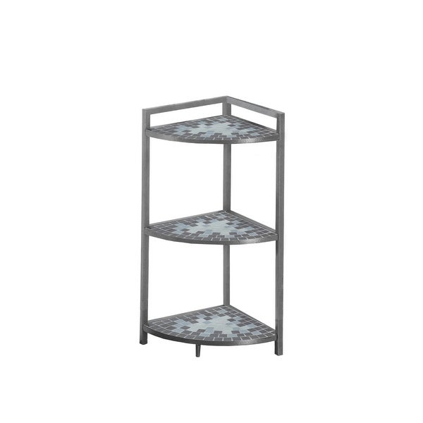 Monarch Specialties I 3146 30 Inch Tall Accent Corner Shelving Unit With Tiled S Gray Free Shipping Today 23104310