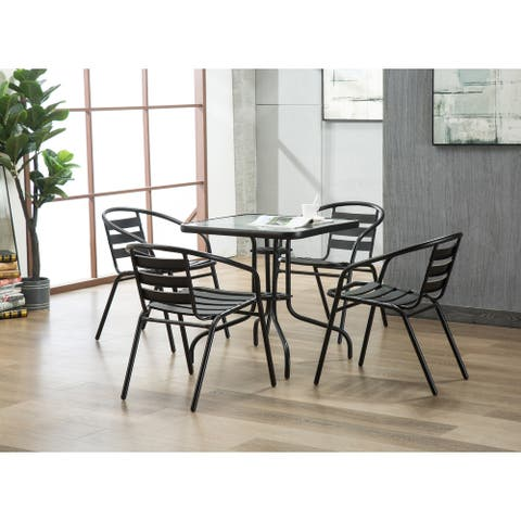 Porthos Home Indoor-Outdoor Metal Restaurant Stack Chair,Set of 4