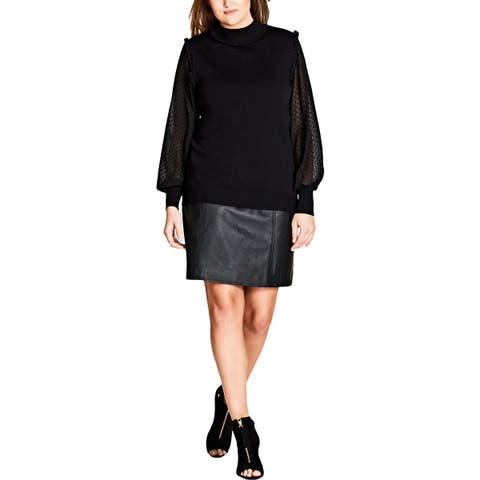 City Chic Womens Plus Mock Sweater Sheer Pullover
