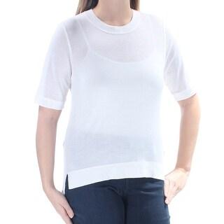 DKNY $178 Womens New 1182 Ivory Short Sleeve Crew Neck Hi-Lo Casual Top L B+B