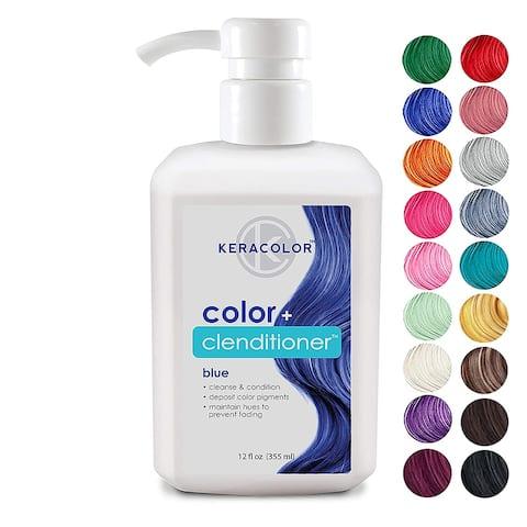 Keracolor Clenditioner Blue Hair Dye Depositing Color Conditioner Colorwash Vegan and Cruelty-Free, 12 fl. Oz