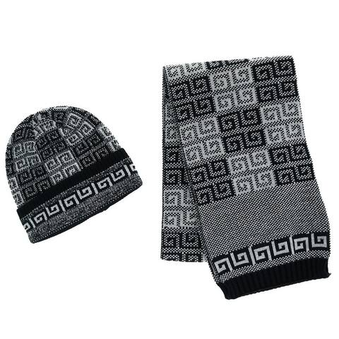 CTM® Men's Ribbed Knit Cuff Cap with Sherpa Lining and Matching Scarf Set - one size