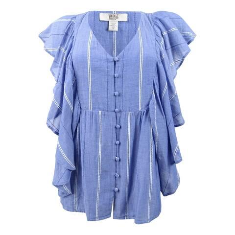 Vintage America Women's Delfina Flounce Cotton Top - Blue Stripe