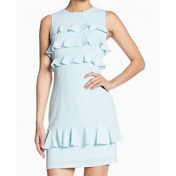 Maggy London Blue Womens Size 10 Cataline Crepe Ruffle Sheath Dress