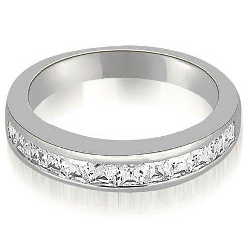 0.85 cttw. 14K White Gold Channel Set Princess Cut Diamond Wedding Band