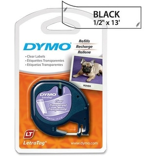 DYMO LetraTag Labeling Tape for LetraTag Label Makers, Black Print on Clear Plastic Tape, 1 roll (16952) - black print on clear