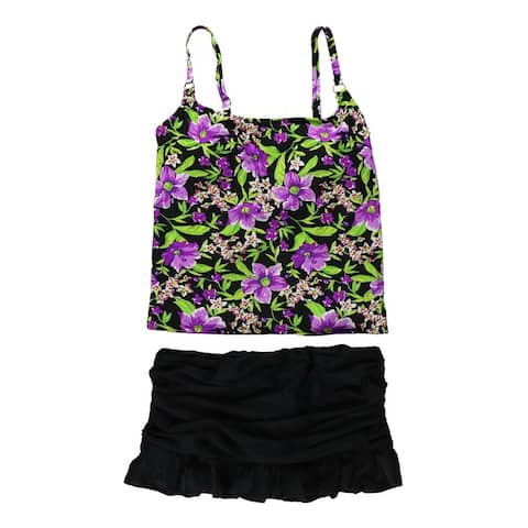 Island Escape Womens Floral Skirtini 2 Piece Tankini, Purple, 12