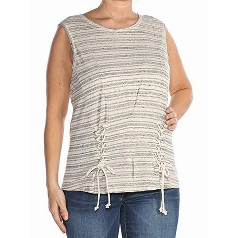 William Rast Grey Lace-Up Women's Large Striped Tank Corset Top