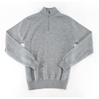 Jeremy NEW Solid Gray Mens Size Large L Pullover 1/2 Zip Wool Sweater