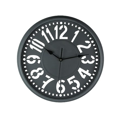 16 Inch Diameter Wall Clock With Easy To Read Large Cutout Numbers - 16 X 16 X 1.75 inches