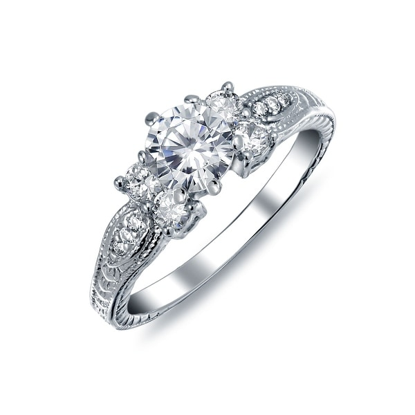 Art Deco Style 1CT Brilliant Round Solitaire Pave Band AAA CZ Promise Engagement Ring For Women 925 Sterling Silver. Opens flyout.