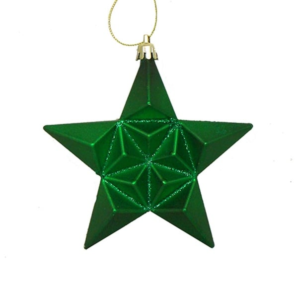 12ct Matte Xmas Green Glittered Star Shatterproof Christmas Ornaments 5""
