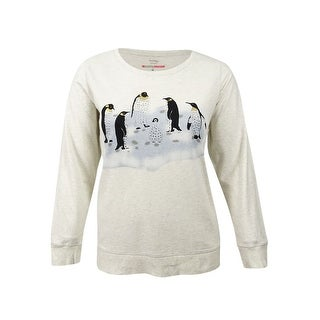 Style & Co. Womens Plus Long-Sleeve Penguin-Print Sweatshirt (0X, White Heather) - white heather
