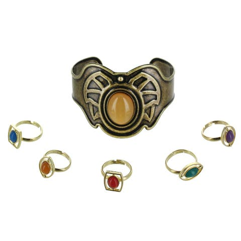 Marvel Infinity Stone Bracelet and Ring Set 6 Pieces - Gold