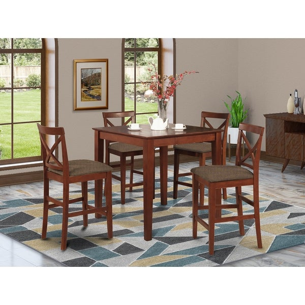 5-piece Dining Set - Square Table and 4 Counter Height Chairs in Dark Brown Finish. Opens flyout.