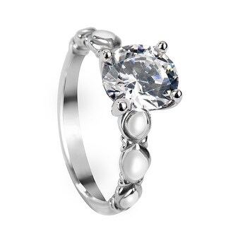 CLEMENTINE Vintage Style Round Solitaire Palladium Engagement Ring - MADE WITH SWAROVSKI® ELEMENTS - White