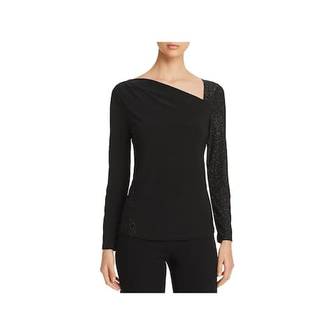 Donna Karan Womens Pullover Top Pindot Crew Neck