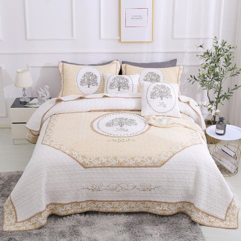S&S Embroidered Tree of Life 3 Piece Cotton Quilt Set