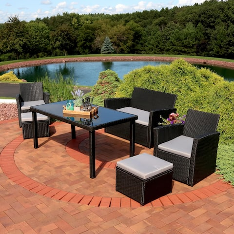 Sunnydaze Limerick 6-Piece Rattan Patio Dining Furniture Set with Cushions
