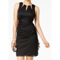 Betsy Adam Black Womens 12 Embellished Cutout Ruffled Sheath Dress