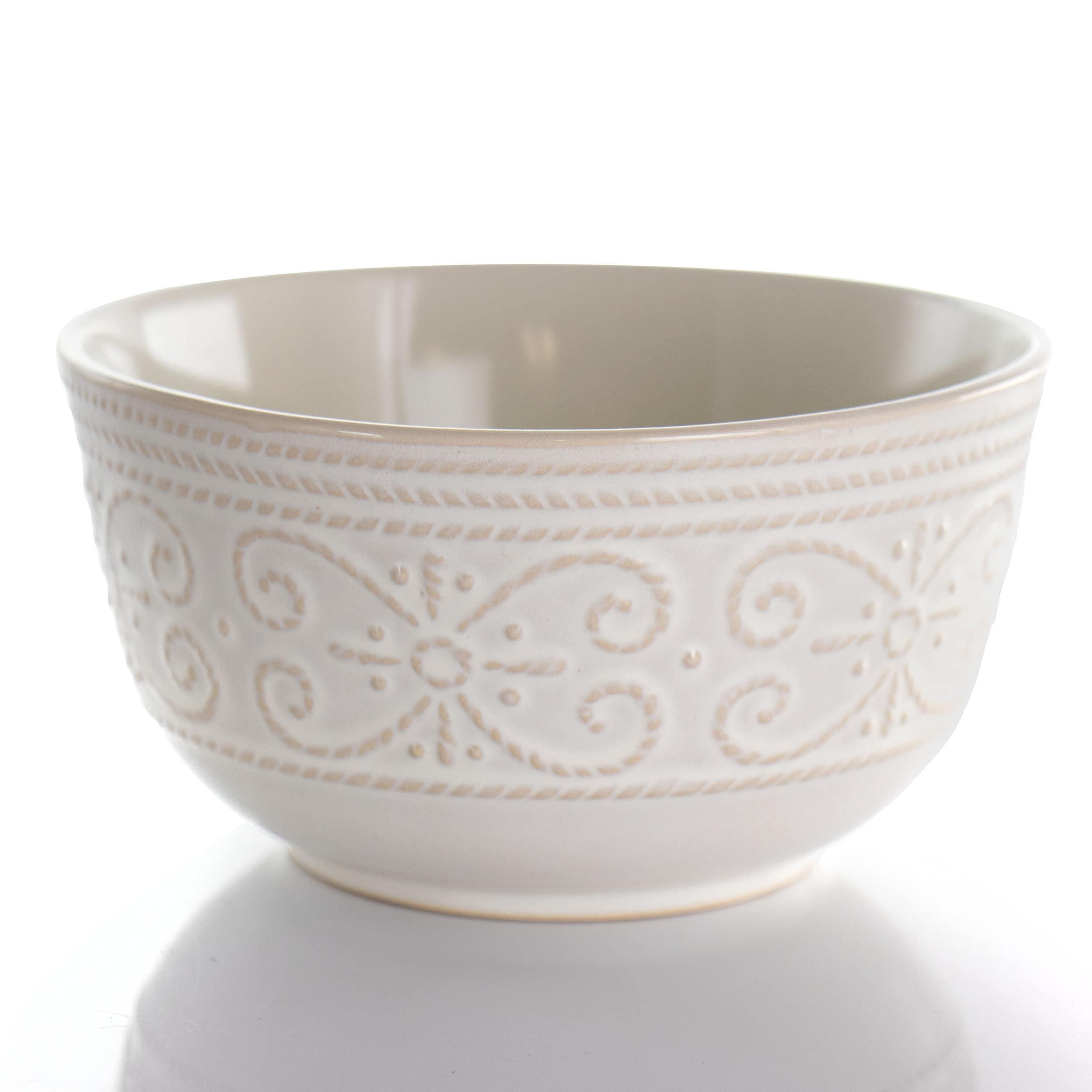 Elama Luna 16 Piece Embossed Scalloped Stoneware Dinnerware Set in White
