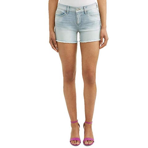 Time and Tru Women's 4.5 Denim Shorts with Frayed Hemline, Denim-Pebble, 4