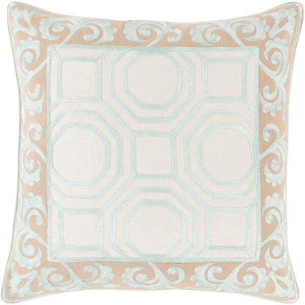 "22"" Mint Green and Sepia Brown Geometric & Scroll Print Throw Pillow-Down Filler"