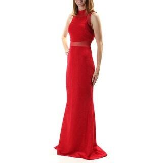 BETSY & ADAM $219 Womens New 1094 Red Glitter Sleeveless Sheath Dress 2 B+B