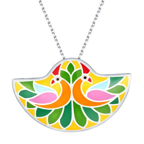 Vedantti Madhubani Art Peacock Multi Color Enamel Necklace With Chain