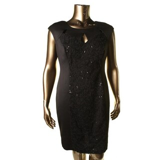 Connected Apparel Womens Sequined Cut-Out Cocktail Dress