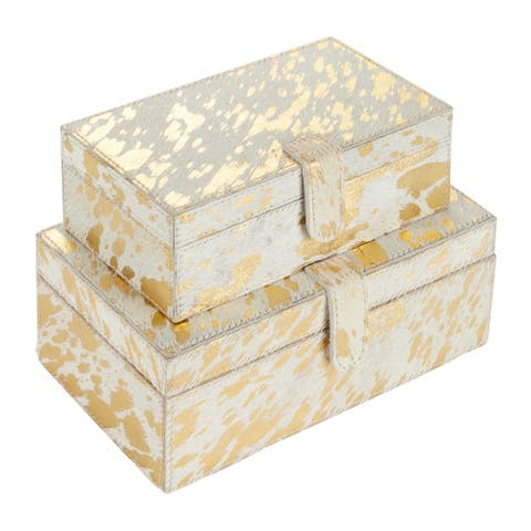 """White And Gold Metallic Hair On Hide Patterned Box Set Of 2 9"""" 10"""" - 8 x 5 x 3"""