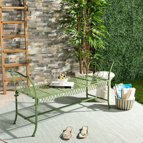 """SAFAVIEH Outdoor Living Arona Green Wrought Iron Garden Bench (51-Inches) - 51"""" x 17"""" x 25.3"""""""