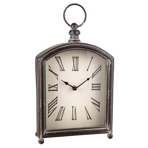 Foreside Home & Garden Rustic Distressed Metal Battery Operated Table Clock - 2.5x7.25x12.8