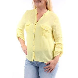 Womens Yellow Cuffed V Neck Button Up Top Size L