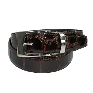 CTM® Men's Big & Tall Leather Croc Print Dress Belt with Clamp On Buckle